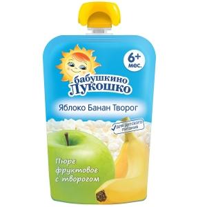БАБУШКИНО ЛУКОШКО пюре Яблоко/банан Творог 90г