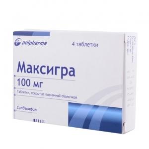 МАКСИГРА 100мг N4 таб. покрытые пленочной оболочкой Польфарма