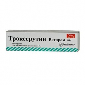 ТРОКСЕРУТИН ДС 2% 40г гель д/наружного применения ВетПром АД/Доминанта-Сервис