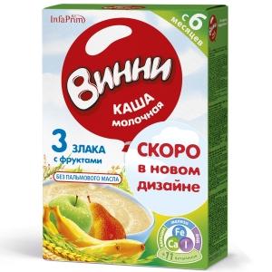 ВИННИ 200г каша молочная коробка Инфаприм Россия 3 злака с фруктами 6+