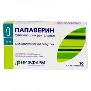ПАПАВЕРИНА ГИДРОХЛОРИД 20мг N10 суппозитории ректальные Нижфарм
