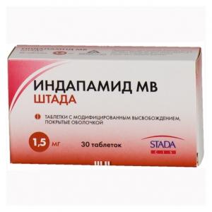 ИНДАПАМИД МВ ШТАДА 1,5мг N30 таб. пролонгированного действия покрытые пленочной оболочкой Хемофарм