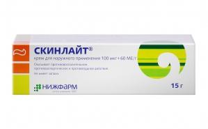 СКИНЛАЙТ 100мкг+60МЕ/г 15г крем д/наружного применения Нижфарм