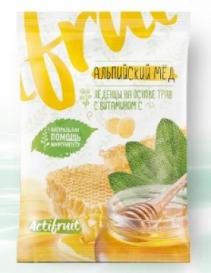 АКТИФРУТ леденцовая карамель с витамином С со вкусом альпийского меда 60г Гуслица