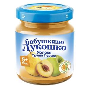 БАБУШКИНО ЛУКОШКО 100г пюре Яблоко/Груша/Персик