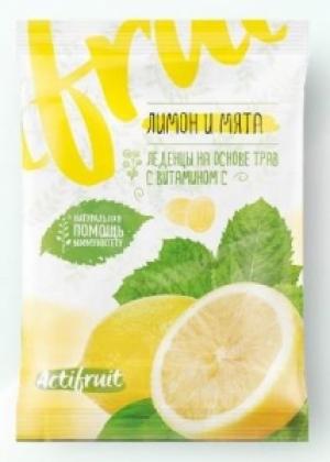 АКТИФРУТ леденцовая карамель с витамином С со вкусом лимона с мятой 60г Гуслица